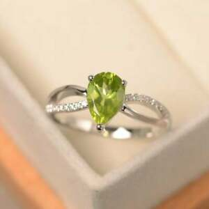 1.15 Ct Pear Peridot Diamond Engagement Wedding Ring 14K White Gold 5 6 7 8