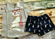 Gymboree 10 12 Set Mix N Match Kitty Cat Sipping Soda Top Knit Shorts NWT Outlet