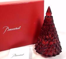 Baccarat Crystal Christmas Tree Red Diamond Cut Noel Fir Tall French Figure Box