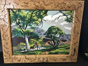 Vtg 1956 Craftint Riders in Grove Paint by Number Painting Cowboy Horses Framed