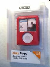 Griffin elan form Red Leather Hard case for Apple iPod nano 3rd Gen 3G
