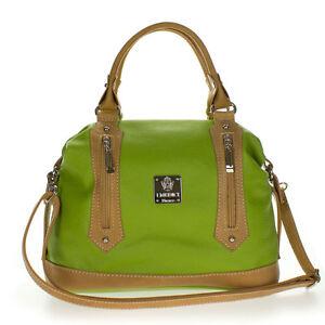 Medichi Italian Made Green Leather Convertible Satchel Handbag Crossbody Bag