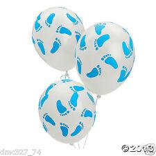 6 Baby Shower Decorations Latex BALLOONS BLUE BOY BABY FOOTPRINT Feet 11 inch