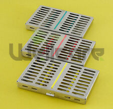 Set of 3 Sterilization Cassette Rack for 10 Dental Surgical Instruments CE.