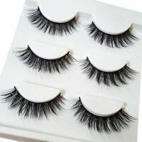 3Pairs Make Up 3D Natural Soft Handmade Thick Long Cross False Fake Eyelashes FG