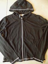 ladies STITCH WHITE & BLACK JACKET cotton LIGHTWEIGHT spring fall HOODIE large