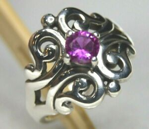James Avery Spanish Lace Ring with Pink Sapphire in Sterling Silver Size 6