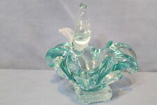 Murano Art Glass Bowl or Ashtray w Bird Figurine Heavy Solid Clear & Teal Glass