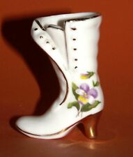 Vintage Hand-Painted Bone China Ladies Boot w/ Flower & Gold Accent - Japan