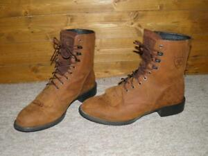 Vintage Ariat Men's Heritage Lacer Boots Size UK 8 Wide In Distressed Brown