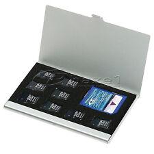 8 in 1 Aluminium Micro for TF SD SDHC TF MS Memory Card Storage Case Box - Silve
