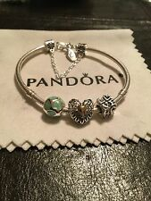 Authentic Pandora Bracelet Mixed Metals Charms/Safety Chain