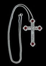 "NEW Silver Plated BISHOPS PECTORAL CROSS, Ruby Red Crystal Stone, 36"" Chain"