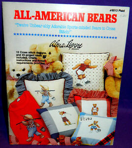 Alma Lynne All-American Bears Cross Stitch Chart Book Sport Golf Soccer Baseball
