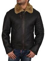 Brandslock Men's Aviator Ginger Brown Original Sheepskin Leather Flying Jacket