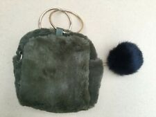 Evening Dress Furry Zip Bag. Olive Green with gold colour handles. VGC.