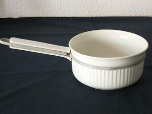 Ancienne CASSEROLE porcelaine à feu Limoges blanche ALUMINITE  No1 bord cannelé