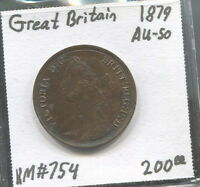 GREAT BRITAIN - BEAUTIFUL HISTORICAL SCARCE QV HALF PENNY, 1879