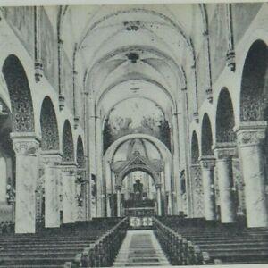 Vintage Early 1900's Postcard Kansas  Interior Catholic Church Seats Atchison