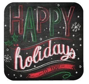 """Chalk Messages """"Happy Holidays to You"""" 8 Ct 9"""" Dinner Plates Party"""