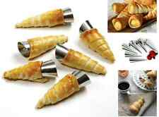 6 X TALA CREAM ROLL HORN MOULDS FORMS DESSERT PASTRY FILLED STAINLESS STEEL TUBE