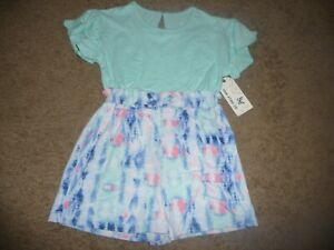 NEW NWT One Step Up girls size 4 pretty teal tie dye short romper SOFT!