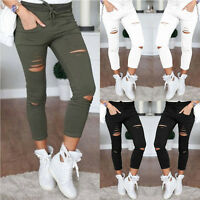 Women Denim Skinny Ripped Pants High Waist Stretch Jeans Slim Pencils Trousers