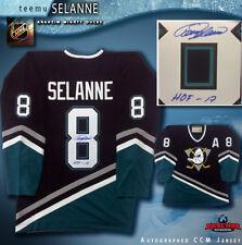 """TEEMU SELANNE Signed Anaheim Mighty Ducks CCM Jersey w/ """"HOF - 17"""" Inscription"""