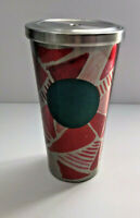 Starbucks Green Dot Tumbler 2014 Red Silver Abstract