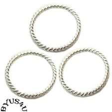 LINK CONNECTOR LARGE FISHER RING ROPE STYLE 18mm BRIGHT SILVER PLATED 25pk