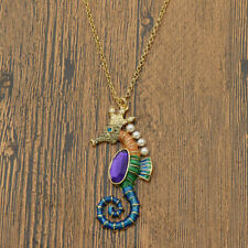 Crystal Seahorse Pearl Enamel Amethyst Pendant Necklace Sweater Fashion Jewelry