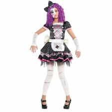 Girls Teen Damaged Doll Zombie Halloween Costume Fancy Dress Outfit 12-14 Years