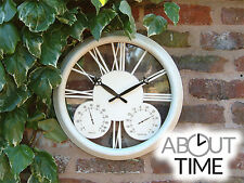 White Classic Open Faced Garden Wall Clock Traditional Roman Numerals Antique