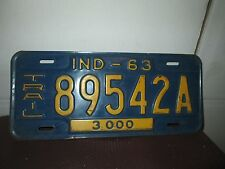 Vintage 1963 INDIANA Vehicle License Plate Car TRAILER 3000 Tag 89542 A Ind  IN