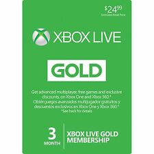 Microsoft Xbox Live Gold 3 Month Membership Quick Delivery!