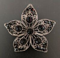 Black Rhinestone Five Petal Flower Brooch Pin Fall Jewelry Jacket Lapel Collar