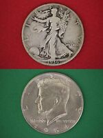MAKE OFFER $2.00 Face Value Walking Liberty 1964 Kennedy Half Dollars 90% Silver