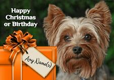 Personalised Yorkie Yorkshire Terrier Birthday or Christmas Card  A5 size