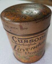 Vintage POWDER TIN BOX CUSSONS YE ELDE ENGLISH LAVENDER ENGLAND Pictorial Round