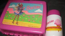 VINTAGE BARBIE PLASTIC LUNCH BOX W THERMOS PAPERWORK 1990 MATTEL SCHOOL LOOK!