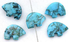 """2 - 1 x 7/10""""  Dyed Jade Blue Turquoise Color Zuni Bear Fetish Topdrilled Beads"""