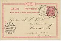 """DT.REICH """"KONSTANZ"""" K1 10 Pf Reichspost GA nach """"RORSCHACH"""" Ank.-K2 Schweiz 1890"""