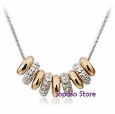 18K Yellow Gold Crystal Two Tone Gold 9 Circle Ring Necklace For Party Wedding