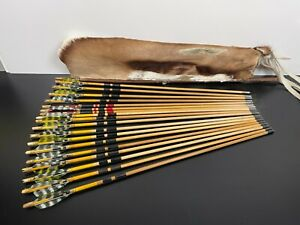 Vintage Lot Custom WOOD ARCHERY TARGET ARROWS & QUIVER Recurve Bow Traditional