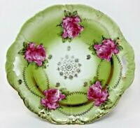 VINTAGE HAND PAINTED HANDLED PORCELAIN CAKE PLATE - GREEN WITH GOLD GILDED SCROL