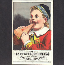 Atmores Mince Meat 1876 Plum Pudding Victorian Christmas Advertising Trade Card