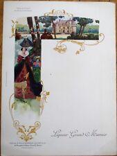 Grand Marnier 1910 Art Nouveau French Advertising Menu: Diane de Poitiers & Dog