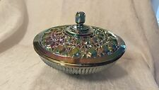 VTG INDIANA GLASS CO. BLUE CARNIVAL GLASS CANDY DISH W/LID