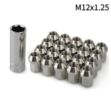 20pc Extended Tuner Lug Nuts 12x1.25 Closed Wheel Stud +Key Stainless Steel 35mm