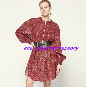 ISABEL MARANT Red Printed Cotton Loose Floral Dress Women